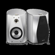 High-Resolution Audio Stereo Bookshelf Speakers (Silver)