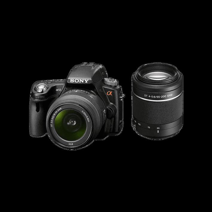 A55 Digital SLT 16.2 Mega Pixel Camera with SAL1855 and SAL55200 Lens, , product-image
