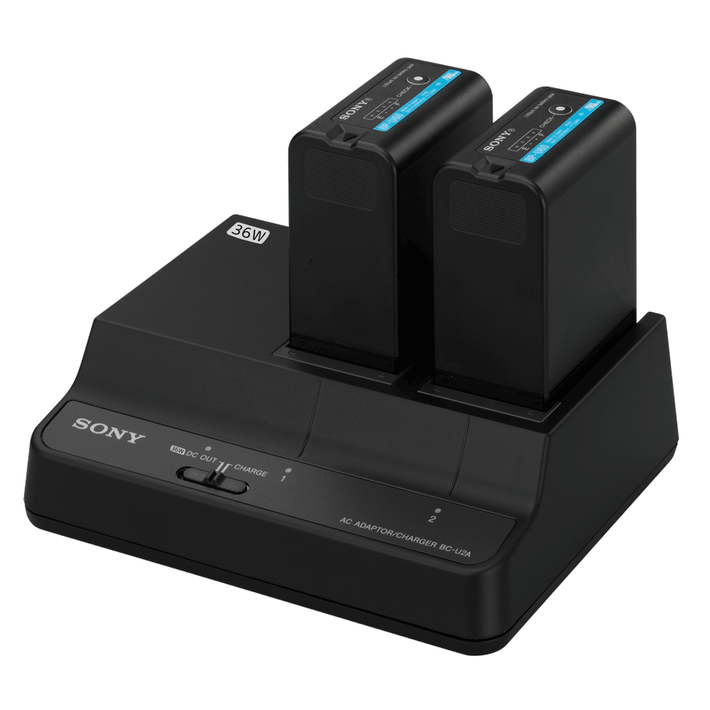 BCU-2A 2-Channel Simultaneous Battery Charger/AC Adaptor For BP-U Series Batteries, , product-image