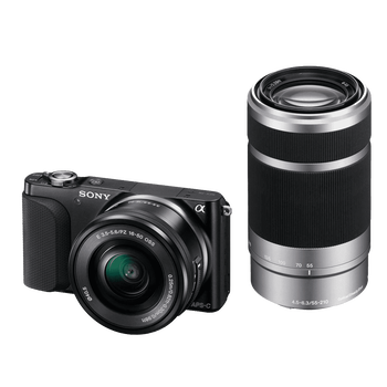 NEX3 16.1 Mega Pixel Camera Body (Black) with SELP1650 and SEL55210 Lens, , hi-res