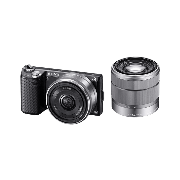 16.1 Megapixel Camera with SEL1855 and SEL16F28 Lens (Black), , product-image