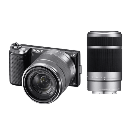 NEX5 16.1 Mega Pixel Camera (Black) with SEL1855 and SEL55210 Lens, , hi-res