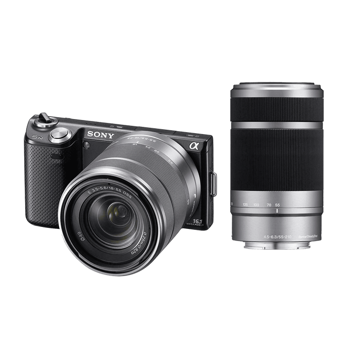 NEX5 16.1 Mega Pixel Camera (Black) with SEL1855 and SEL55210 Lens, , product-image