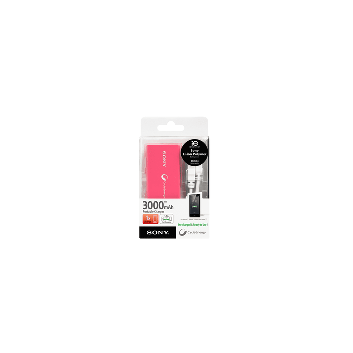 Portable USB Charger 3000mAH (Pink), , product-image