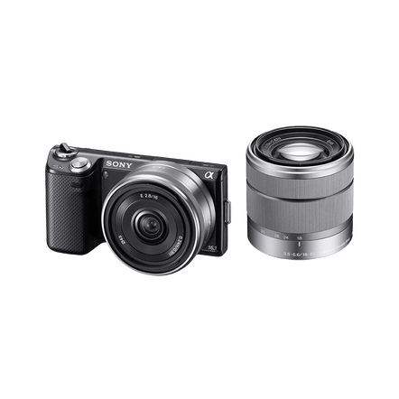 16.1 Megapixel Camera with SEL1855 and SEL16F28 Lens (Black)