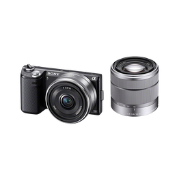 16.1 Megapixel Camera with SEL1855 and SEL16F28 Lens (Black), , hi-res