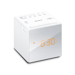 Single Alarm Clock Radio (White), , hi-res