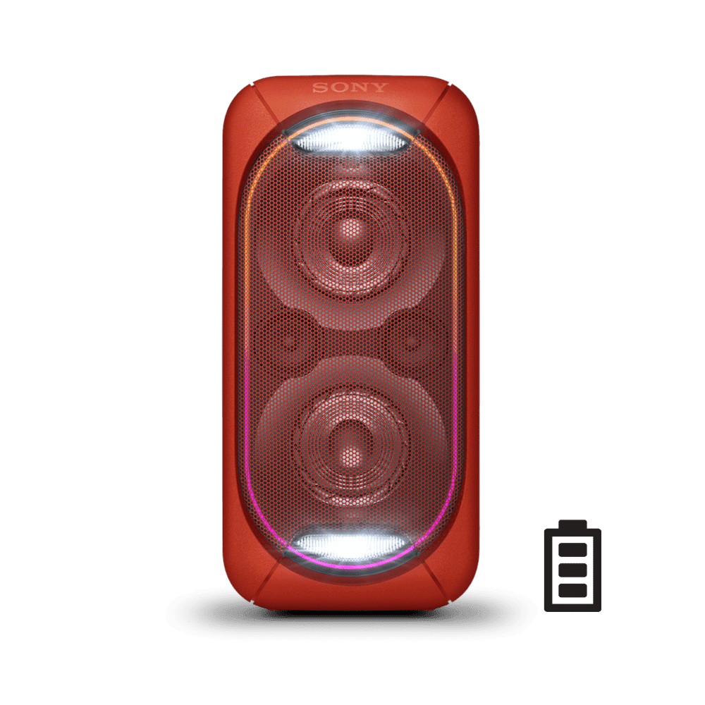 EXTRA BASS High Power Home Audio System with Battery (Red)